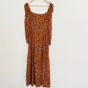 & Other Stories Brown Blue fFloral Dress SZ S